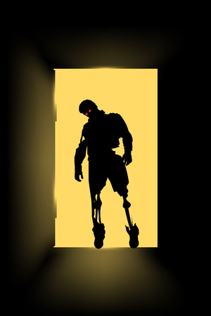 staying: illustration of zombie silhouette staying at the door wit hred eyes