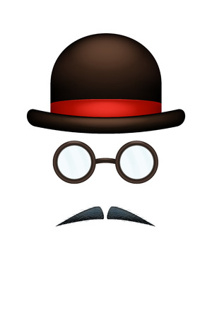 sir: illustration of male set hat glasses and mustaches on white background