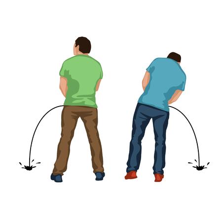 白い背景の上に戻って 2 つの男性シルエット立って放尿イラスト