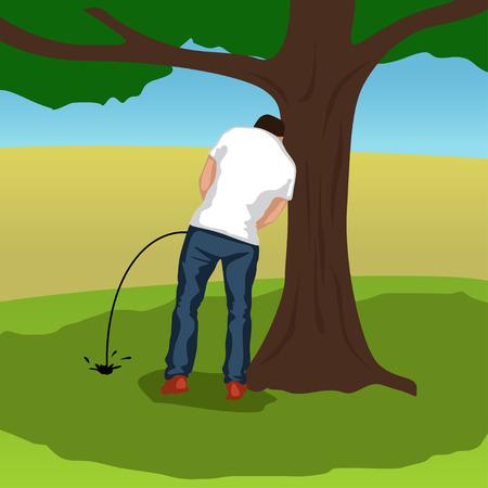 illustratie van pissing man silhouet status onder boom