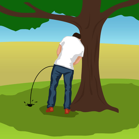 urination: illustration of pissing man silhouette standing under tree