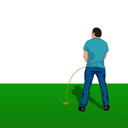 urination: illustration of pissing man silhouette standing back on grass