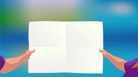 couple hiking: illustration of man holding big white color paper list on colorful background