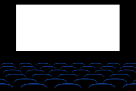 cinema screen: illustration of cinema seats in the dark with screen