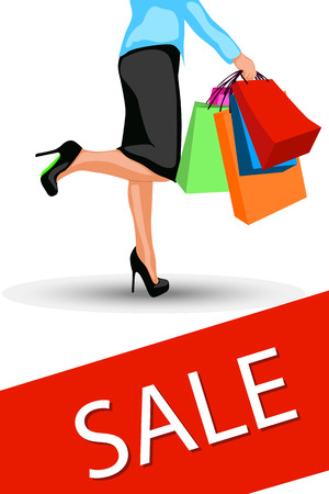 gift bags: illustration of big sale. woman carry a lot of bags Illustration