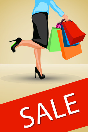 gift bags: illustration of womans shopping with a lot of bags. Illustration