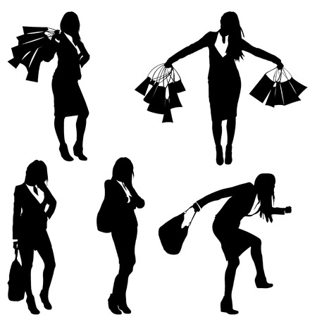 go to store: set of different poses with bags on shopping silhouettes. woman. isolated on white background Illustration