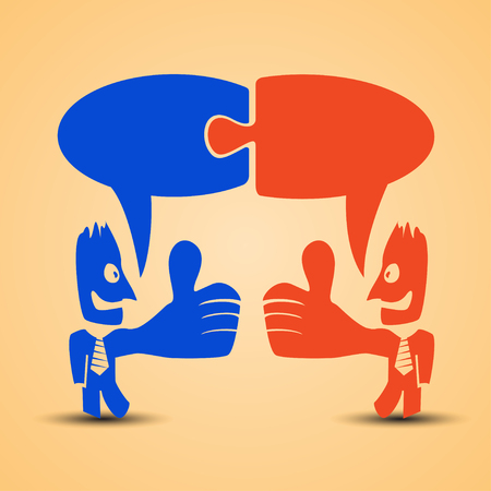 okey: cartoon illustration of red men standing with thumb is up. businessmans are red and blue colors and with necktie and labels