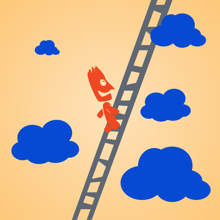 clambering: cartoon illustration of climbing businessman by ladder to up. businssman is smiling Illustration