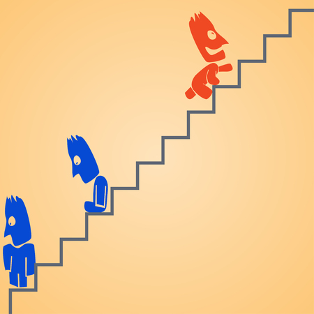 clambering: cartoon illustration od climbing businessman at ladder. dont give up Illustration
