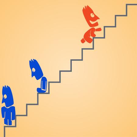 clambering: cartoon illustration od climbing businessman at ladder. dont give up Illustration