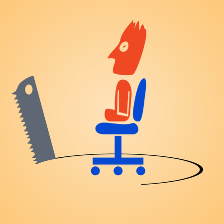 sabotage: cartoon illustration of businessman who is sitting on chair. and worried about his place because it is sawing