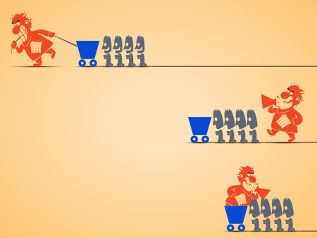 irritation: cartoon illustration of different types of management by leaders. leader is screaming and workers are doing