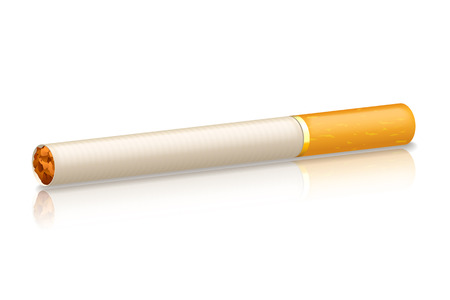 tobacco product: illustration of cigarette with orange filter on white background