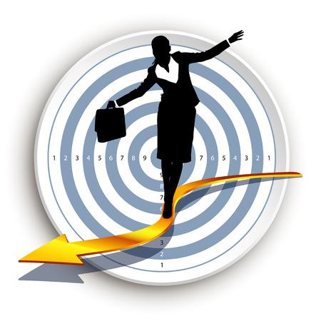 taget: illustration of businesswoman walking on arrow in front of taget Illustration