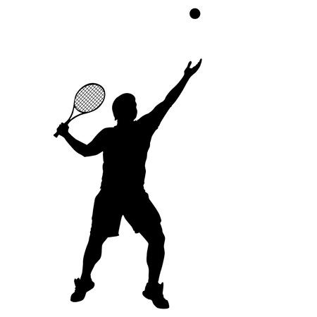 male tennis players: illustration of tennis player with ball and racket isolated