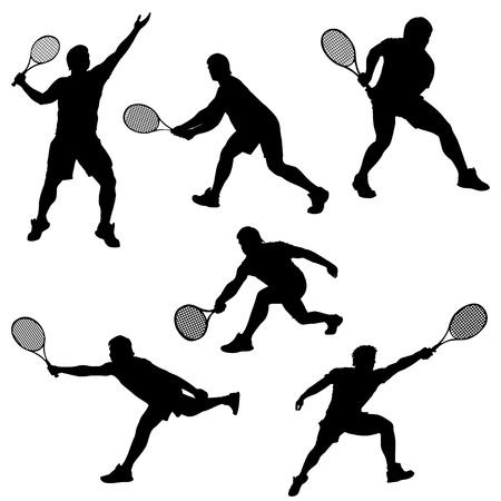 male tennis players: set of tennis player in different poses silhouette isolated on white background