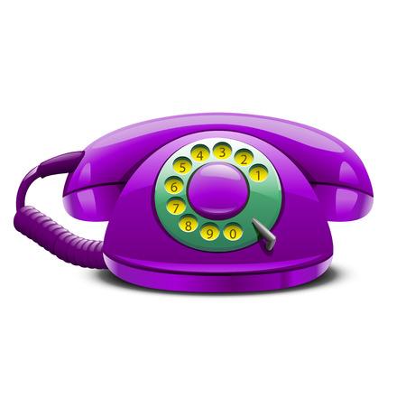 cable telefono: ilustración de violeta estilizado teléfono retro con la sombra y el cable en el fondo blanco y con los números Vectores