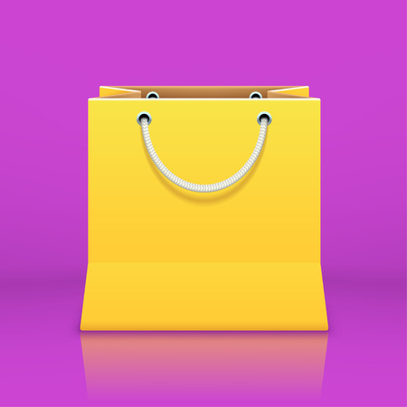 finale: illustration of yellow shopping bag on violet background