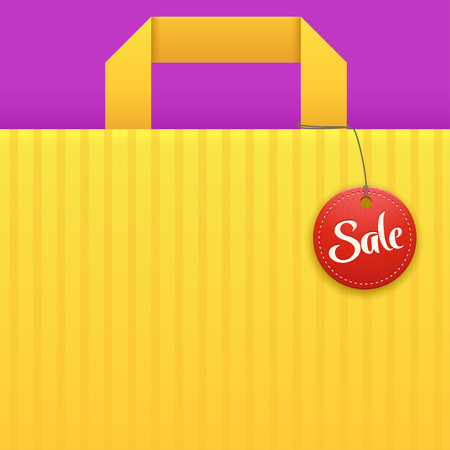 finale: illustration of yellow bag background with sale red label
