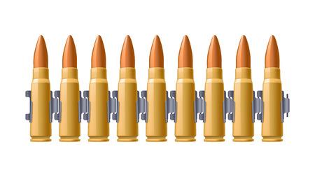 belt up: illustration of group of bullets on belt on white background