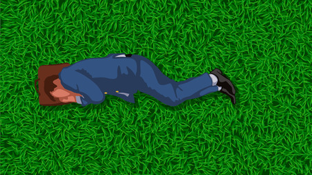 lying in: illustration of lying and resting businessman  in suit on grass