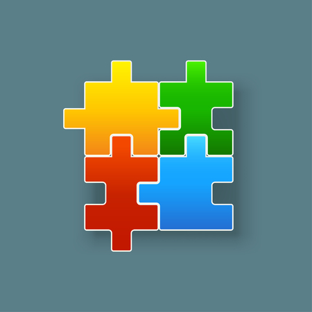 rotating parts: illustration of four didderent shape pieces of puzzle colored Illustration