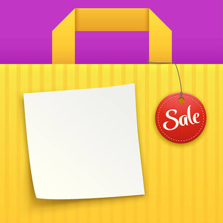 finale: illustration of yellow background bag with sale label and white paper list