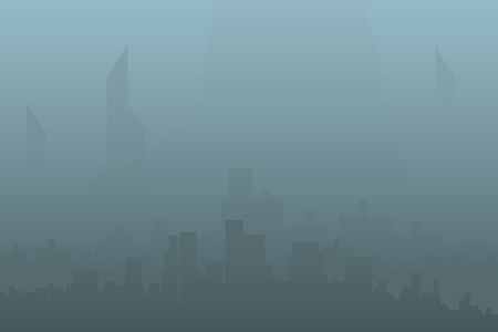 polluted cities: illustration of silhouette of the big citywith fog Illustration