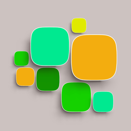 round corner: illustration of round corner squares with shadows different color on grey background Illustration