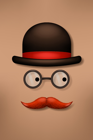snobby: illustration of male hat glasses and mustache