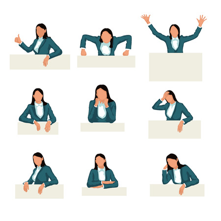 leaned: illustration of woman in different poses