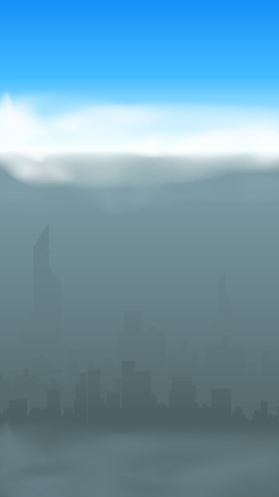 illustration of silhouette of the big city in smog with sunny sky above