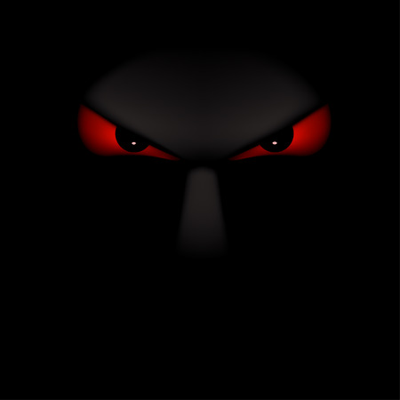 mysterious: illustration of some face silhouette with red eyes in the darkness