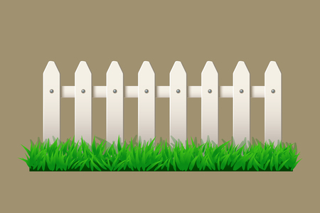illustration of white wooden fence with green grass
