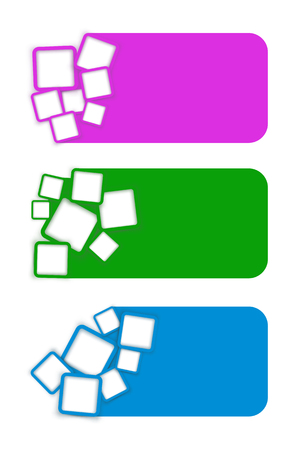 blanks: illustration of set of three different groups of squarees with blanks