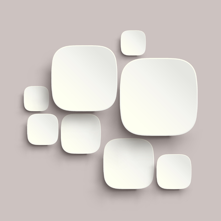 round corner: illustration of round corner squares with shadows white color on grey background