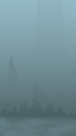 polluted cities: illustration of silhouette of the big city in smog