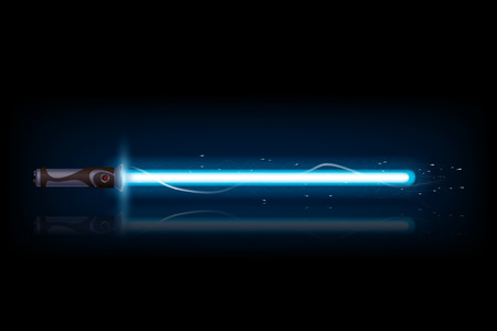 illustration of big blue light sword with reflection on dark background