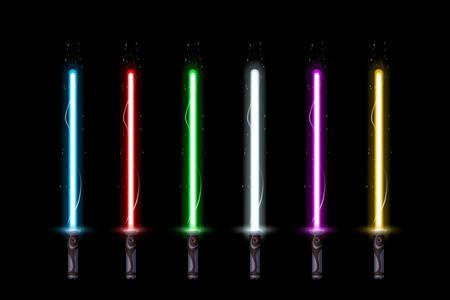 illustration of big set of different color ight swords on dark background  イラスト・ベクター素材