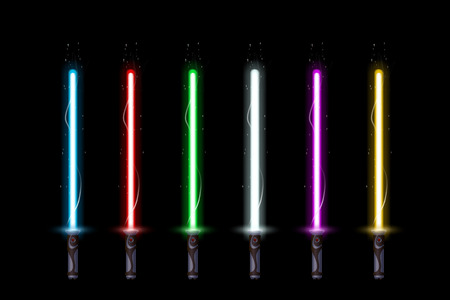 illustration of big set of different color ight swords on dark background Ilustracja