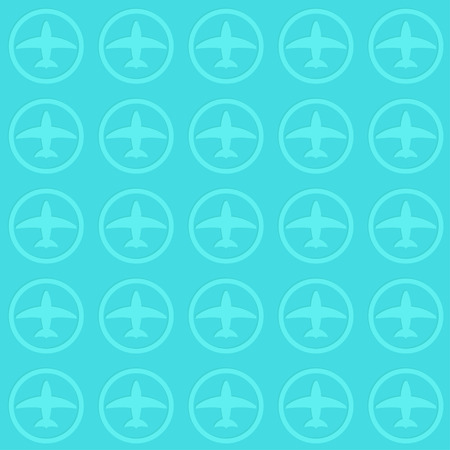 business class travel: illustration of airplane silhouette pattern backgrround blue color