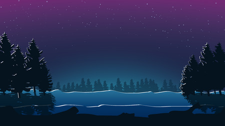 scary forest: illustration of scary forest at night and clear sky Illustration