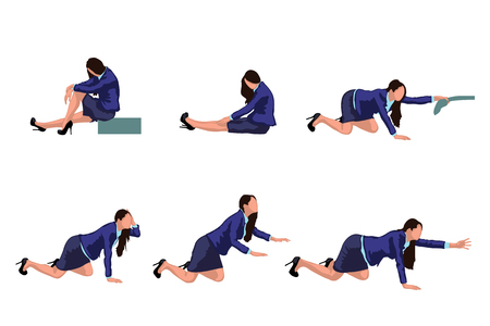 stopped: illustration of businesswoman crowch in suit in different positions