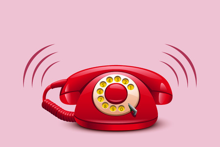 ringing: illustration of red ringing retro telephone on red background