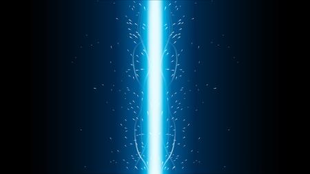 暗い背景にさまざまな色光の剣の大きなセットのイラスト  イラスト・ベクター素材