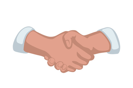 agreement shaking hands: illustration of cartoon handshake on white background Illustration