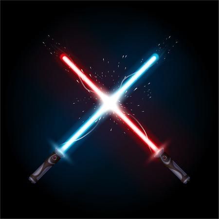 illustration of light swords in battle on dark background