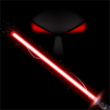 red eyes: illustration of red color light sword and red eyes in the darkness