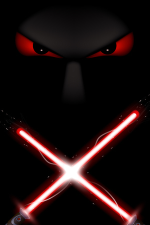 red eyes: illustration of red color light swords and red eyes in the darkness